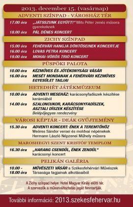 Fehérvári Advent Programok Székesfehérvár, Fehérvári Advent Programok Székesfehérváron,